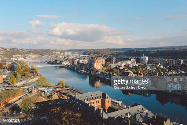 high angle view of city at waterfront - bortes stock pictures, royalty-free photos & images