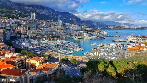 high angle view of city at waterfront - monaco fotografías e imágenes de stock