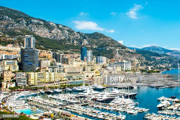 high angle view of city at waterfront - monte carlo stock pictures, royalty-free photos & images