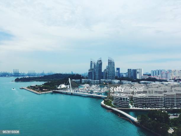 high angle view of city at waterfront - genovia imagens e fotografias de stock