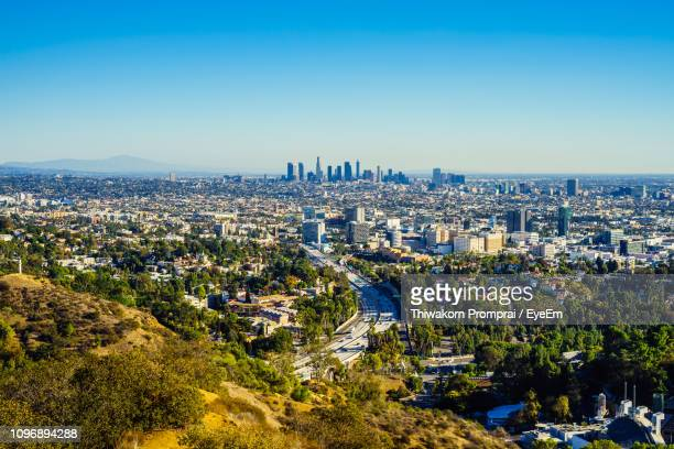 high angle view of city buildings against clear blue sky - hollywood kalifornien bildbanksfoton och bilder