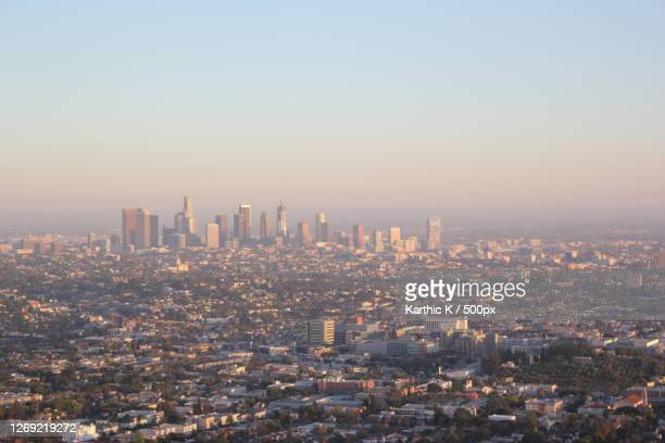 high angle view of city buildings against clear sky, hollywood, united states - hollywood california stock pictures, royalty-free photos & images