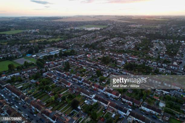 high angle view of city buildings against sky,luton,united kingdom,uk - downtown stock pictures, royalty-free photos & images