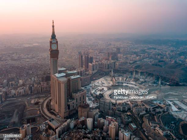 high angle view of city buildings during sunset - saudi arabia stock pictures, royalty-free photos & images