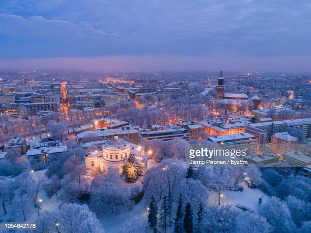 high angle view of city buildings during winter - turku finland stock photos and pictures
