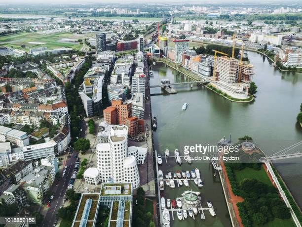 high angle view of city buildings - düsseldorf stock pictures, royalty-free photos & images