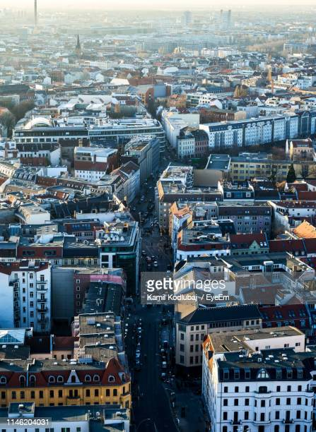 high angle view of city buildings - central berlin stock pictures, royalty-free photos & images