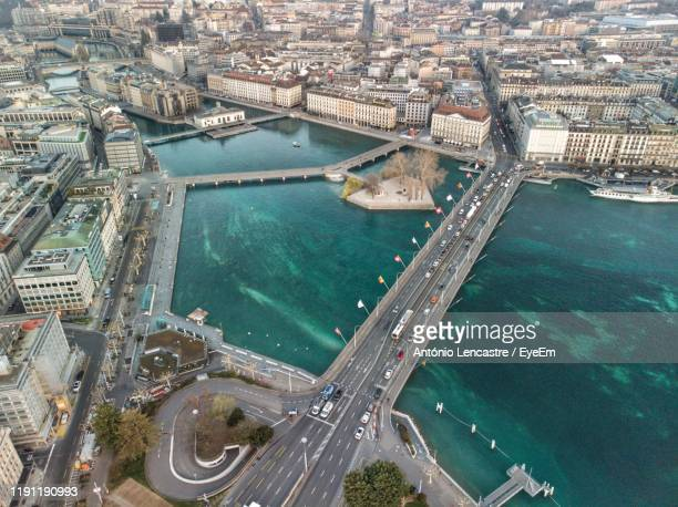 high angle view of city buildings - geneva switzerland stock pictures, royalty-free photos & images