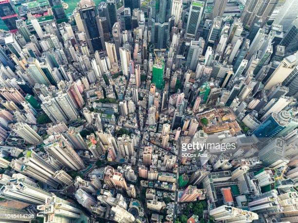 high angle view of city, hong kong, china - hong kong stock pictures, royalty-free photos & images