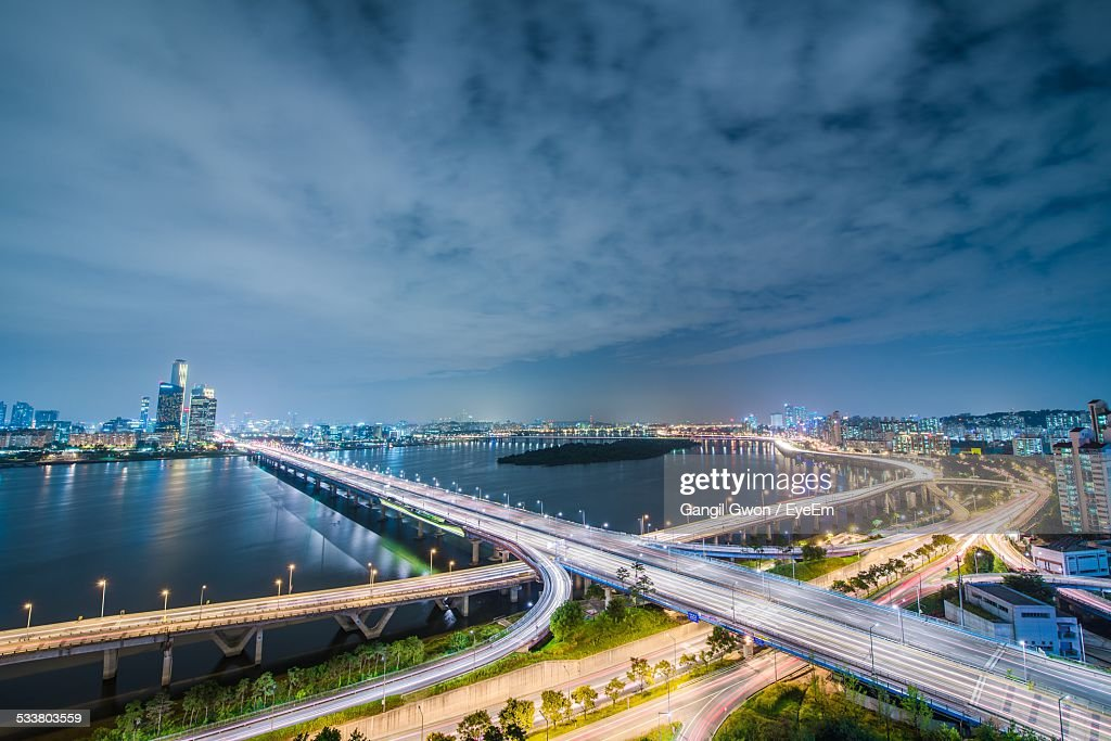 High Angle View Of City Lit Up At Night : Foto stock