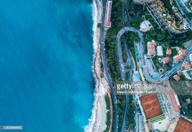 high angle view of city - monaco stock-fotos und bilder