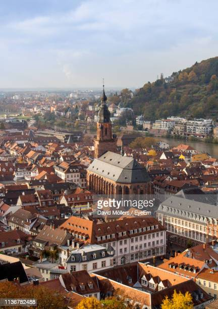 high angle view of city - heidelberg germany stock pictures, royalty-free photos & images