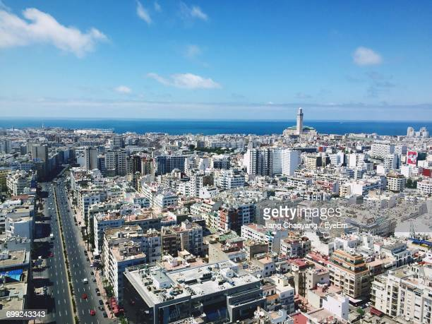 high angle view of city - casablanca stock pictures, royalty-free photos & images