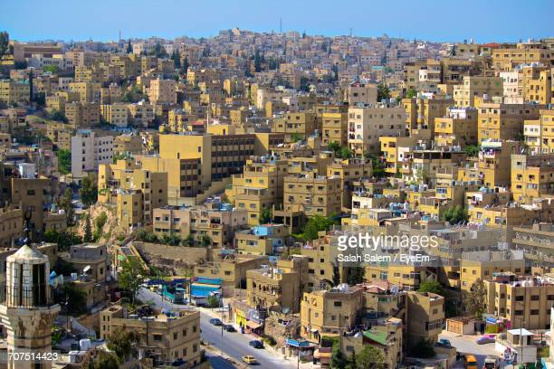 high angle view of city - salah stock photos and pictures