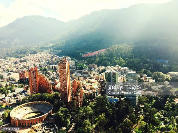high angle view of city - bogota stock pictures, royalty-free photos & images
