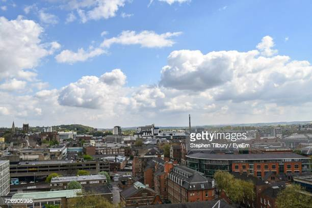 high angle view of city - nottingham stock photos and pictures