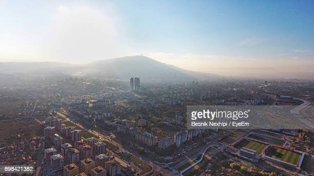 high angle view of city - skopje stock pictures, royalty-free photos & images
