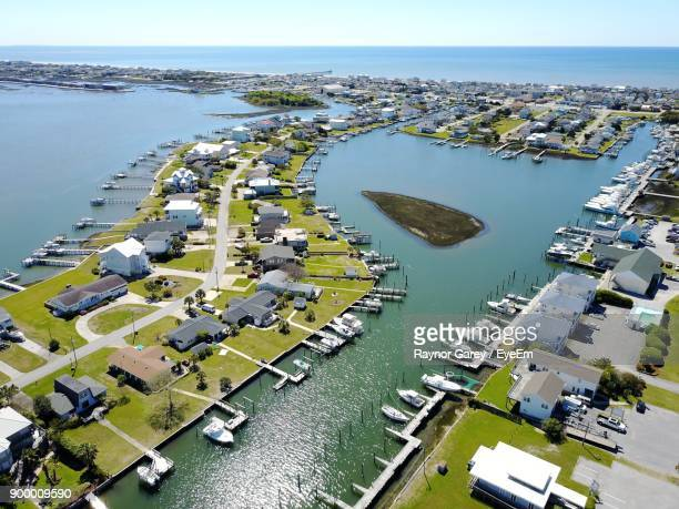 high angle view of city - atlantic beach north carolina stock pictures, royalty-free photos & images