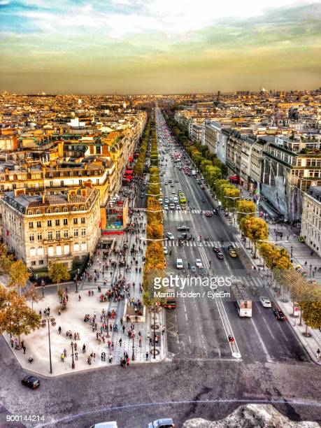 high angle view of city - champs elysees quarter stock pictures, royalty-free photos & images
