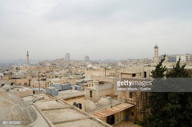 high angle view of city - halep stock photos and pictures