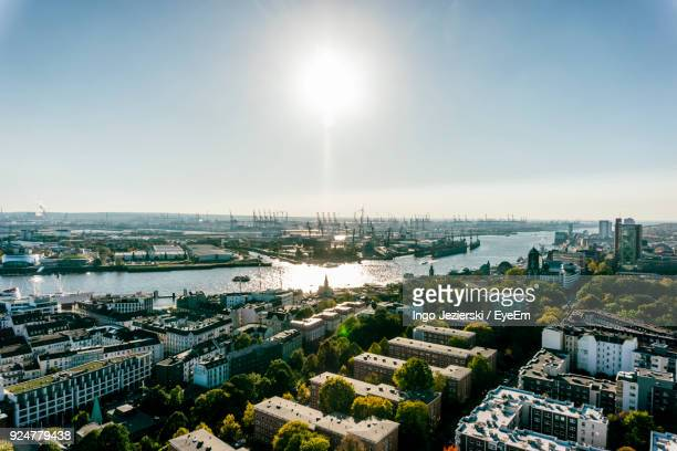 high angle view of city - hamburg germany stock pictures, royalty-free photos & images