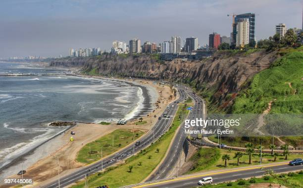 high angle view of city - lima stock-fotos und bilder
