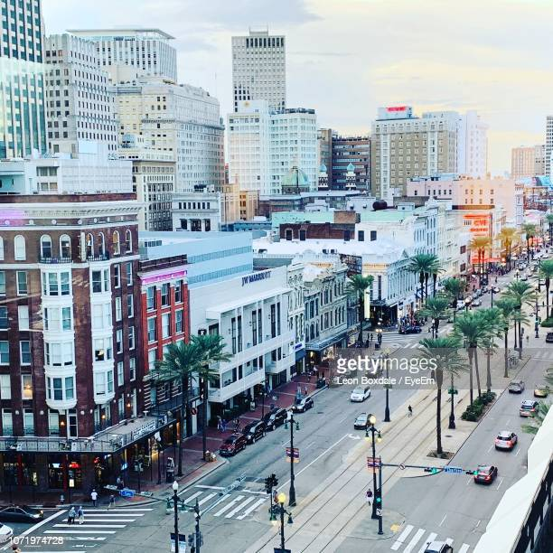 high angle view of city street and buildings against sky - new orleans stock pictures, royalty-free photos & images