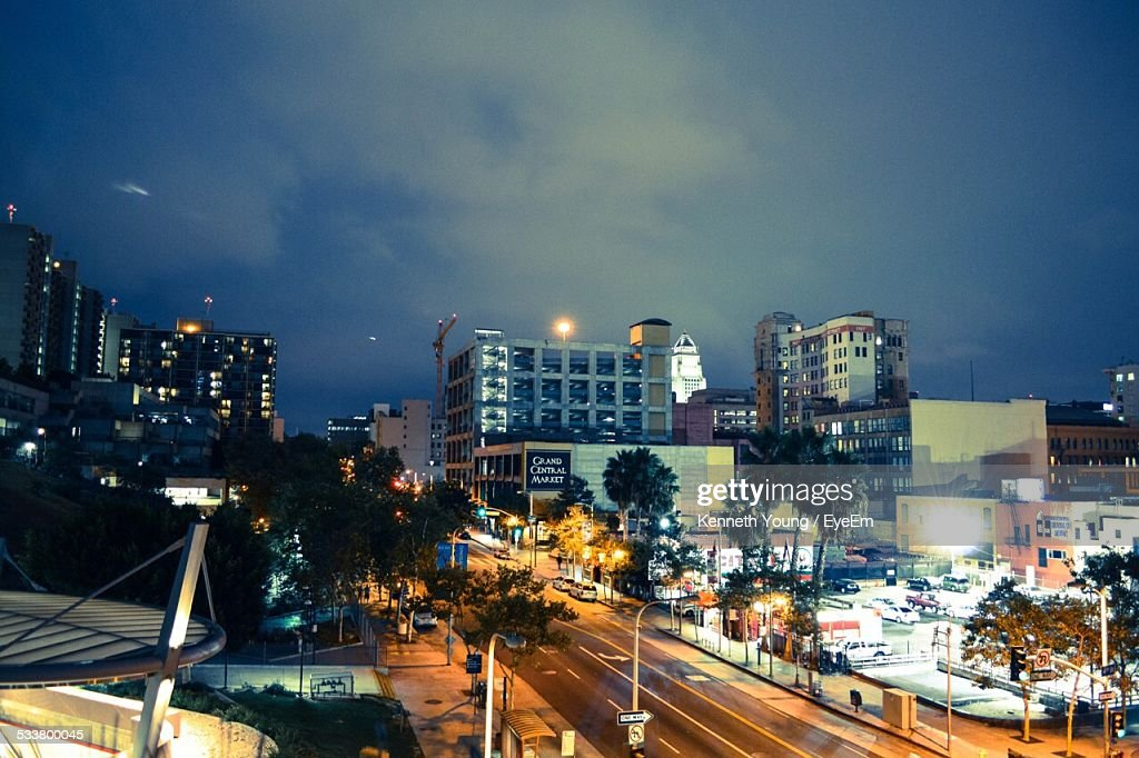 High Angle View Of City Street And Buildings Against Sky : Foto stock