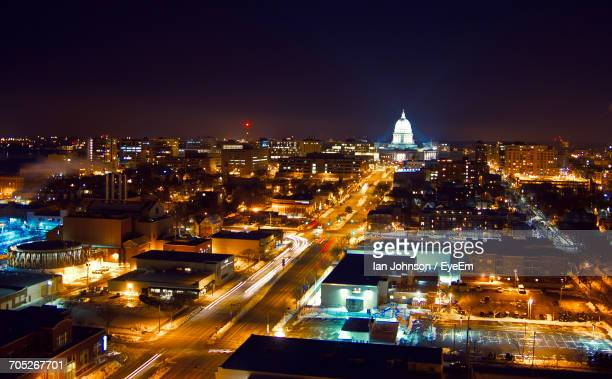 high angle view of city street at night - madison wisconsin stock pictures, royalty-free photos & images
