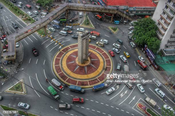 high angle view of city street - manila philippines stock pictures, royalty-free photos & images
