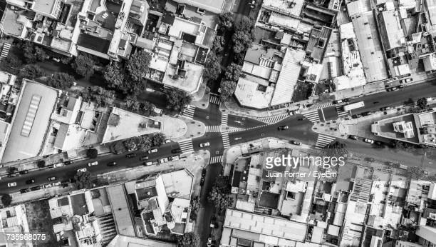 high angle view of city street - buenos aires stock-fotos und bilder