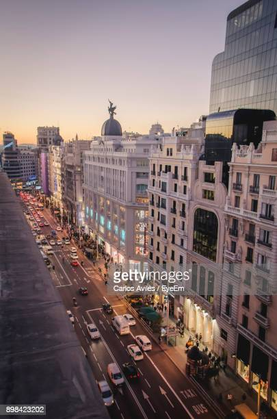 high angle view of city street - carlos aviles stock pictures, royalty-free photos & images