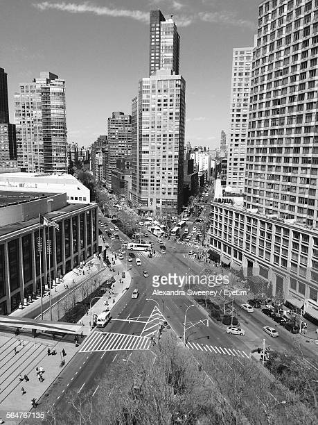 High Angle View Of City Streets And Buildings