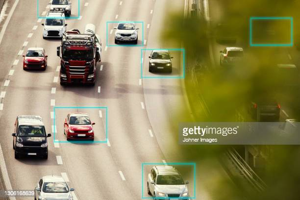 high angle view of city traffic - transport stock pictures, royalty-free photos & images