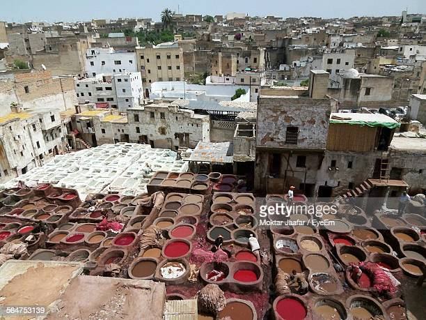 High Angle View Of City With Tannery