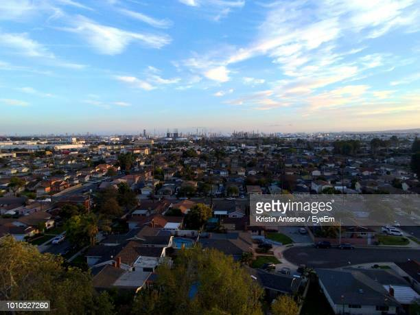 high angle view of cityscape against blue sky - carson california stock pictures, royalty-free photos & images
