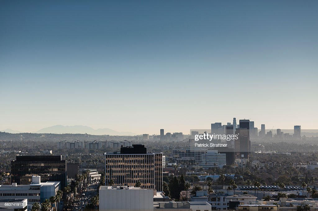 High angle view of cityscape against clear sky, Beverly Hills, California, USA : Foto de stock