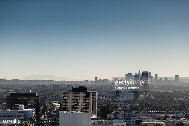 High angle view of cityscape against clear sky, Beverly Hills, California, USA