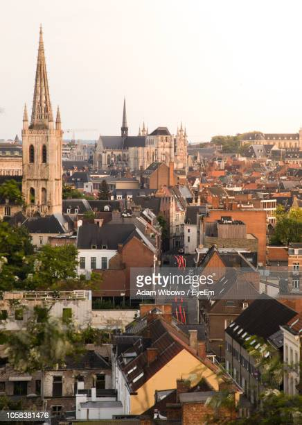 high angle view of cityscape against clear sky - leuven stock pictures, royalty-free photos & images
