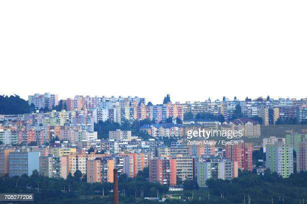 high angle view of cityscape against clear sky - kosice stock photos and pictures