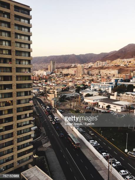 high angle view of cityscape against clear sky - antofagasta region stock photos and pictures