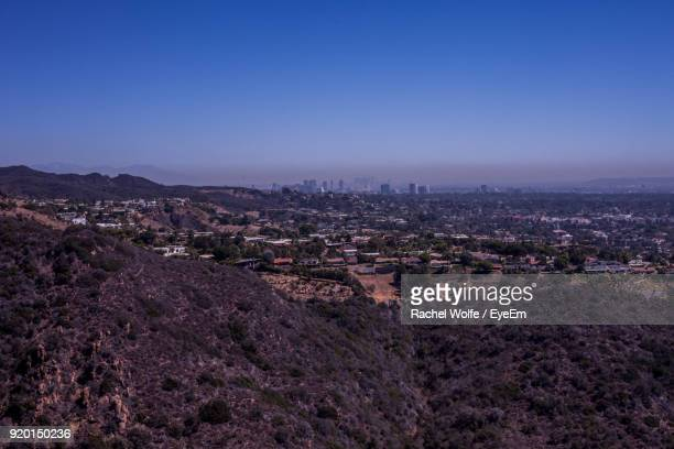 high angle view of cityscape against clear sky - rachel wolfe stock pictures, royalty-free photos & images