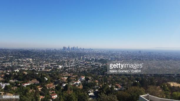 high angle view of cityscape against clear sky - san fernando california stock photos and pictures