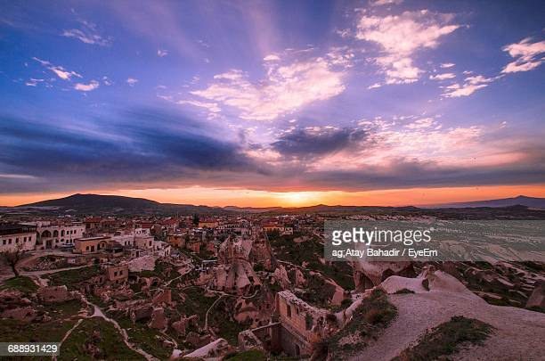 high angle view of cityscape against sky during sunrise - ankara turkey stock pictures, royalty-free photos & images