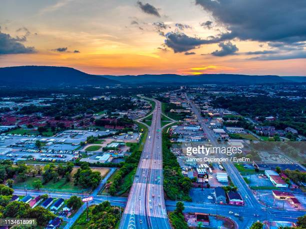 high angle view of cityscape against sky during sunset - chattanooga stock pictures, royalty-free photos & images