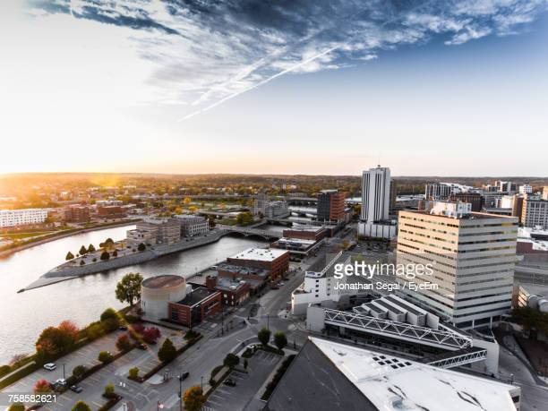 high angle view of cityscape against sky during sunset - iowa stock pictures, royalty-free photos & images