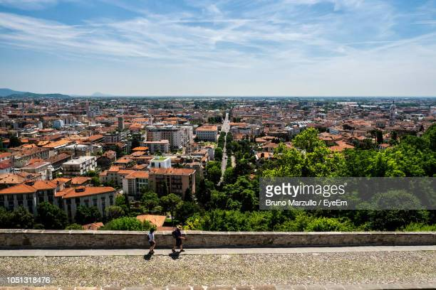 high angle view of cityscape against sky - bergamo stock pictures, royalty-free photos & images