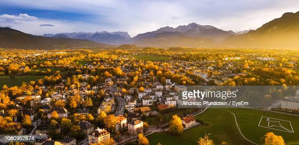 high angle view of cityscape against sky - andreas solar stock pictures, royalty-free photos & images