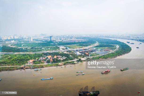 high angle view of cityscape against sky - chad stock pictures, royalty-free photos & images