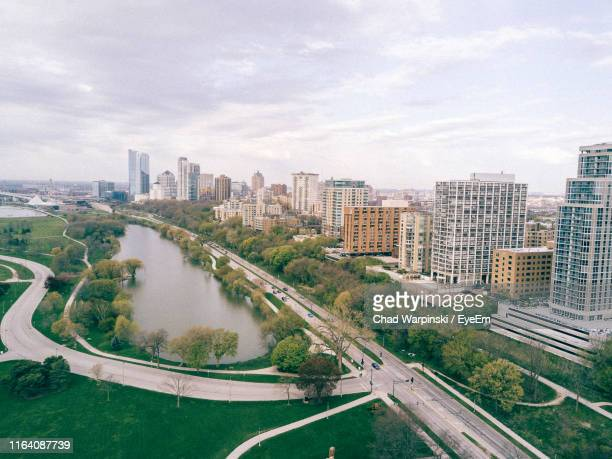 high angle view of cityscape against sky - milwaukee stock pictures, royalty-free photos & images